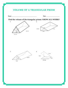 Volume of a Triangular Prism w/ Answer Key