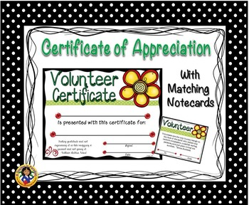 Volunteer Certificate with Matching Notecards
