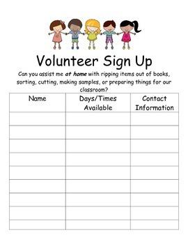 Volunteer Sign-Up Sheets