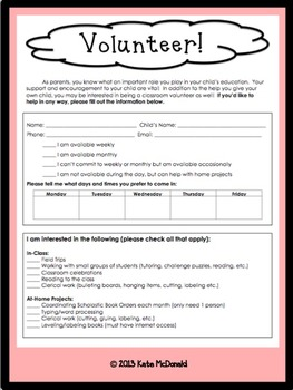Volunteers Needed Form - English and Spanish
