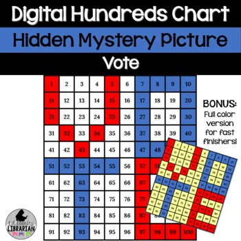 Vote Hundreds Chart Hidden Picture Activity for Election Math