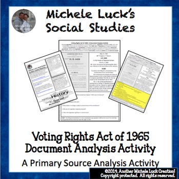 Voting Rights Act of 1965 Document Analysis Activity Homework