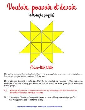 Vouloir, pouvoir & devoir (a triangle puzzle)