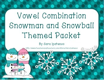 Vowel Combination Phonics Practice Packet: Snowman and Sno