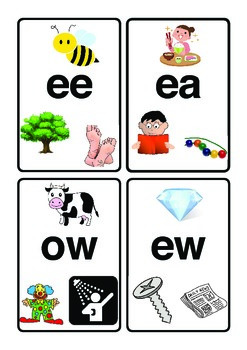 Vowel Diagraph Flash Cards with Pictures