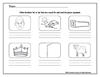 Vowel Digraph Worksheets /ow/ /aw/