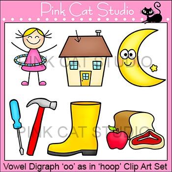 "Vowel Digraph ""oo"" as in ""hoop"" Phonics Clip Art Set - Com"
