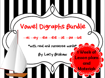 Vowel Digraphs Long ai, ay, ea, ee, ie, oa, ue Worksheets