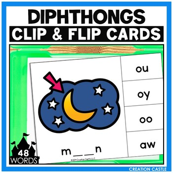 Vowel Diphthongs Clip Cards Center