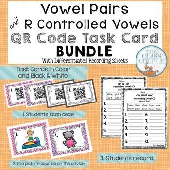 Vowel Pairs QR Code Task Card Bundle