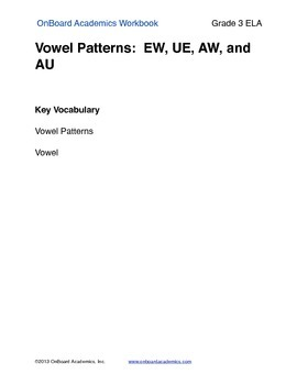 Vowel Patterns EW UE AW and AU