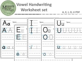 Vowel Practice Handwriting Worksheet Set {Messare Clips an