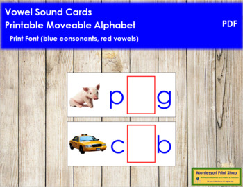 Vowel Sound Cards for Printable Moveable Alphabet PRINT -
