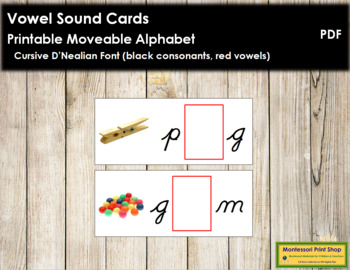 Vowel Sound Cards for Printable Moveable Alphabet CURSIVE