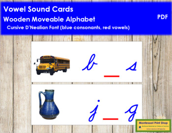 Vowel Sound Cards for Wood Moveable Alphabet CURSIVE - Blue/Red