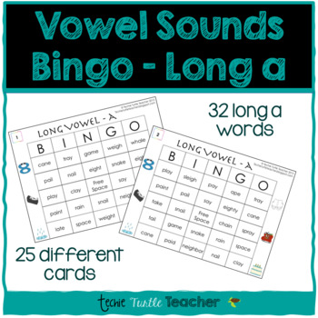 Vowel Sounds (Long A) Bingo - 25 Different Game Cards