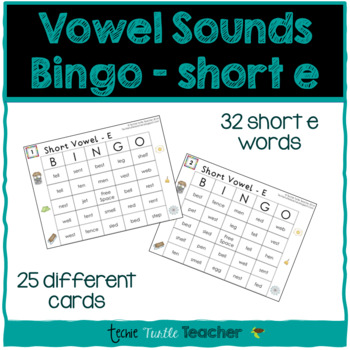 Vowel Sounds (Short E) Bingo - 25 Different Game Cards