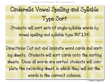 "Vowel & Syllable Sort (for CCSS Unit 6, ""Around the World"