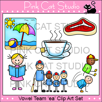 Long e Vowel Sound - Vowel Team 'ea' Phonics Clip Art Set