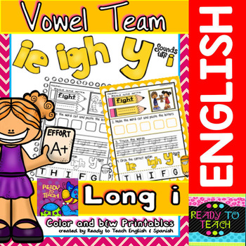 Vowel Team (ie- igh - Y sounds like i) Printables (Color a