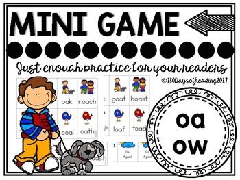 Vowel Team oa and ow Phonics Mini Game