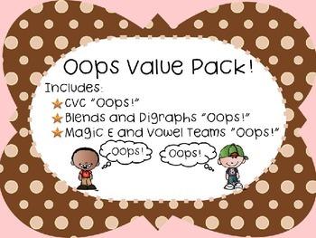 Oops! Value Pack: CVC, Blends, Digraphs, Magic E, Vowel Te