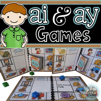 Vowel Teams ai ay:  Long A Phonics Games for Word Work or Centers