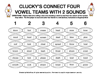 Clucky's Connect 4: Vowel Teams Board Game- Orton Gillingh