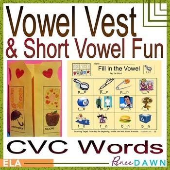 Short Vowel CVC Printables and Vowel Vest