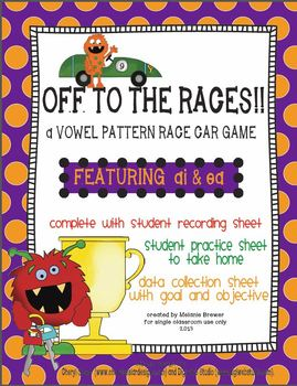 Vowel pattern race car game! Featuring ai & ea! With data