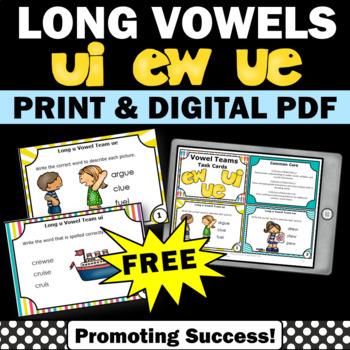FREE Long u Vowel Teams Task Cards Phonics Games & Activit