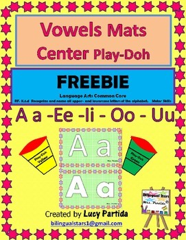 Vowels Mat centers Play Doh English -Spanish Bilingual Sta