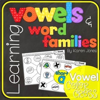 Vowels & Word Families {Vowel Color & Cross}