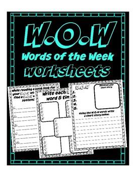 W.O.W Words of the Week to read & memorization, spelling w