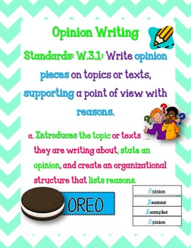 W.3.1 Opinion Writing Standard Poster (Common Core Aligned)