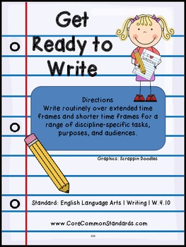 W.4.10 Fourth Grade Common Core Worksheets, Activity, and Poster