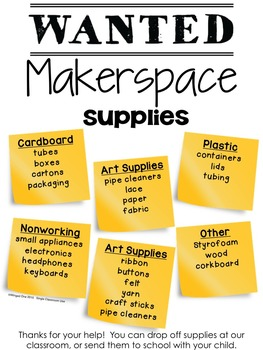 Makerspace Supplies Poster {Editable}