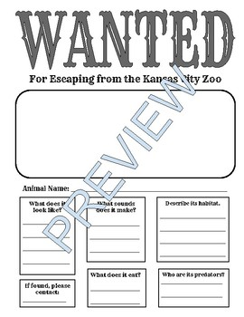 WANTED Poster for Animals