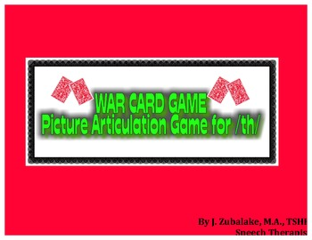 WAR CARD GAME Picture Articulation Card Game for /th/- Spe