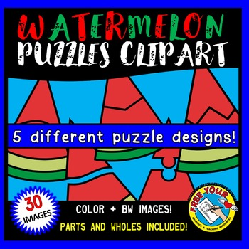WATERMELON PUZZLES CLIP ART: SELF-CORRECTING PUZZLE TEMPLA