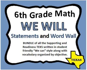 WE WILL 6th Grade Math & Word Wall Bundle