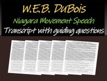 "W.E.B. Du Bois ""Niagara Movement Speech"" with trascript &"