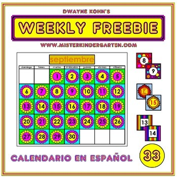 WEEKLY FREEBIE #33: Classroom Calendar in SPANISH