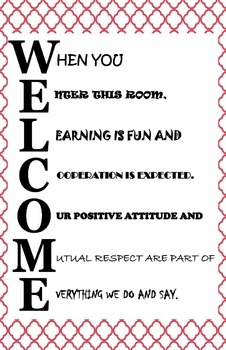 WELCOME Acrostic Poster