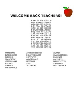 WELCOME BACK TEACHERS! WORD SEARCH