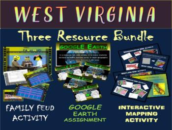 WEST VIRGINIA 3-Resource Bundle (Map Activty, GOOGLE Earth