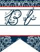 WESTERN - Alphabet Flag Banner, handwriting, A to Z, cursive font