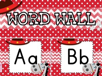 WESTERN COWBOY Themed Word Wall Alphabet