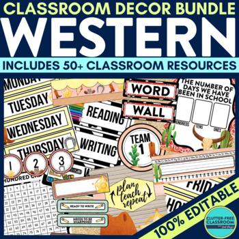 WESTERN THEME Classroom Decor - EDITABLE Clutter-Free Clas