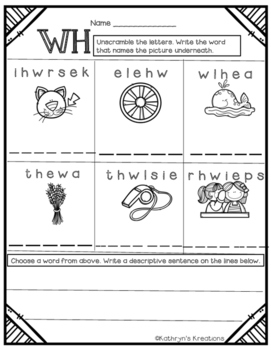 WH Digraph: Unscramble The Word